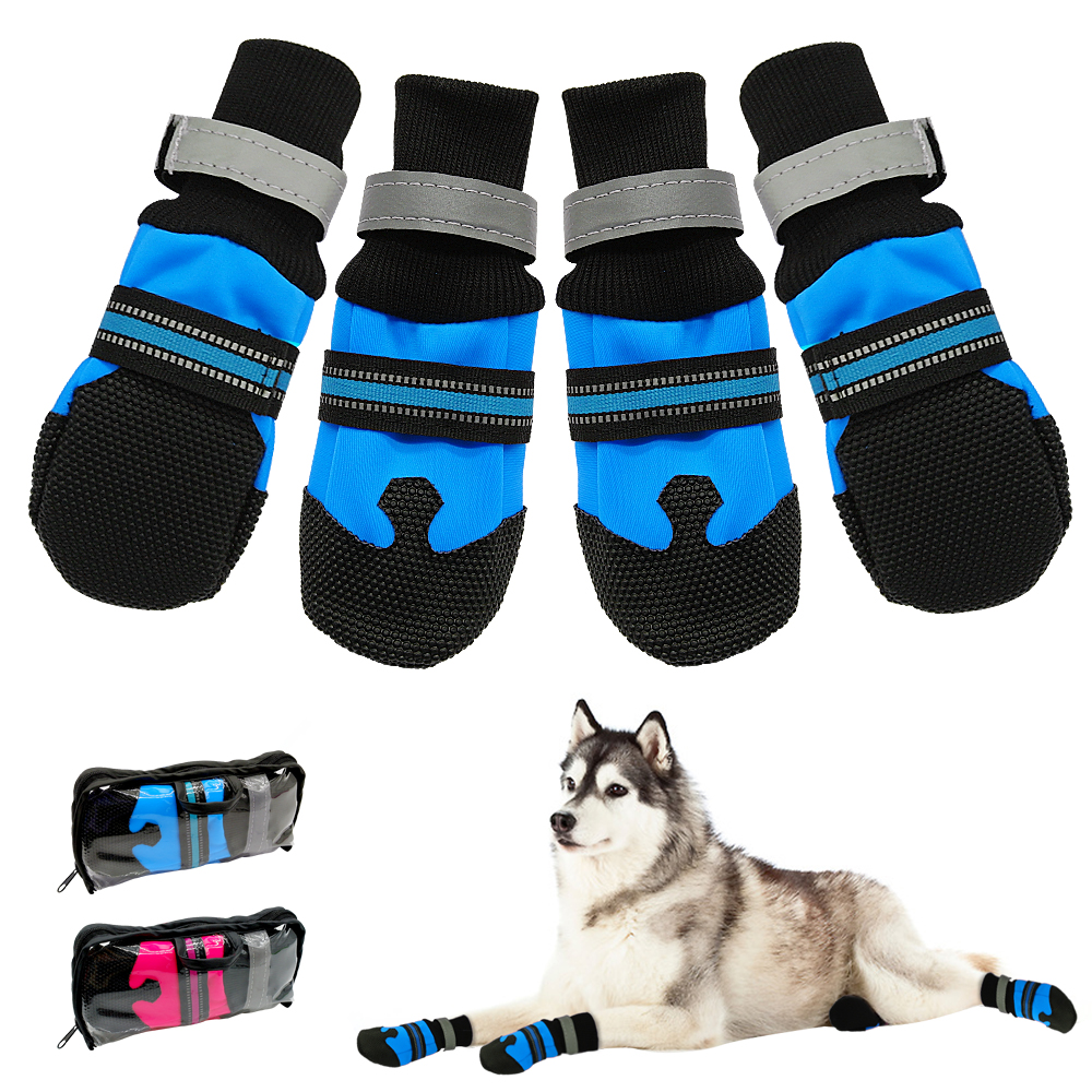 4 stücke Wasserdichte Winter Haustier Hund Schuhe Anti-slip Schnee Haustier Stiefel Pfote Protector Warme Reflektierende Für Medium Large hunde Labrador Husky