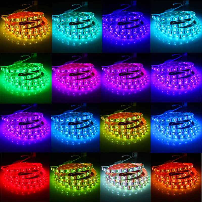 Taśmy LED RGB pełny zestaw dla PC obudowa komputera zasilacz SATA interfejs stały za pomocą taśmy naklejki, pilot zdalnego sterowania kolor 12V
