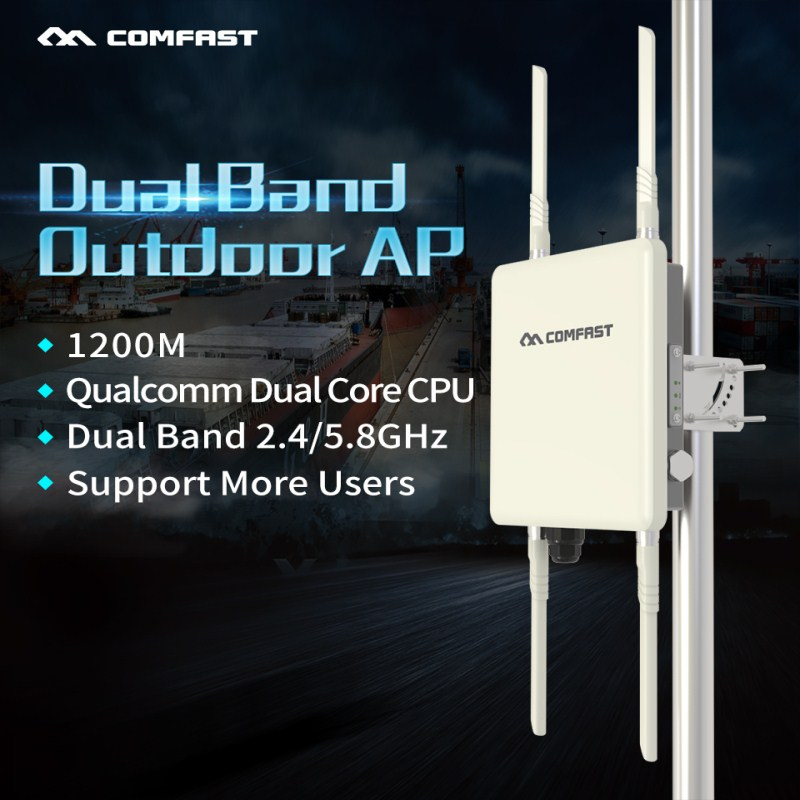Comfast 1200Mbps Dual Band Outdoor AP 5Ghz Wireless Wifi Router Base Station Omnidirectional CPE AP With 4*8dBi Antenna For Park