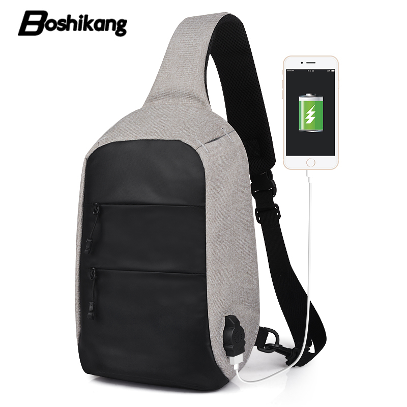 Boshikang Usb Charge Shoulder Bag Men Messenger Bags Male Waterproof Sling  Chest Bag Fashion Bagpack Teenager 9324c58161