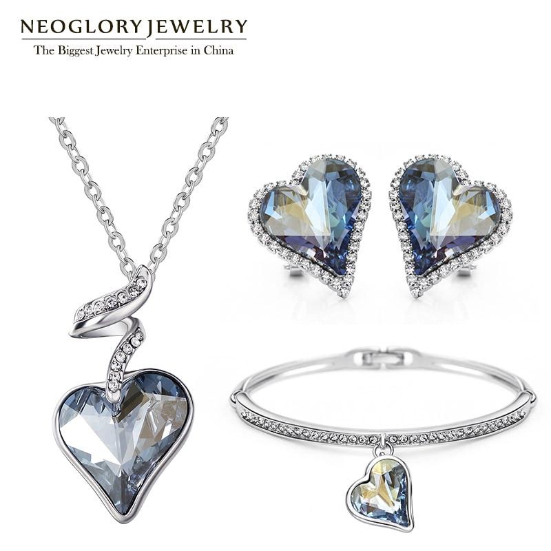 Neoglory Jewelry-Set Charm Crystal Rhinestone Birthday-Gifts Wedding-Bridal Women Heart