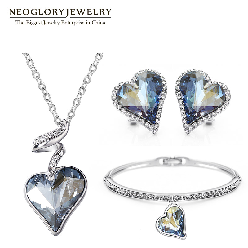 Neoglory Austria Crystal Rhinestone Jewelry Set Heart Wedding Bridal Charm Birthday Gifts For Girlfriend Women 2018 New JS4