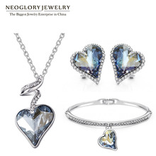 Neoglory Austria Crystal Rhinestone Jewelry Set Heart Wedding Bridal Charm Birthday Gifts For Girlfriend Women 2016 New JS4