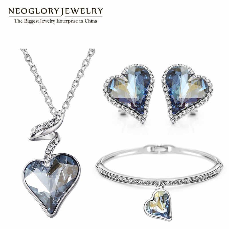 Neoglory áustria cristal strass conjunto de jóias coração casamento nupcial charme presentes de aniversário para namorada feminino 2020 novo js4