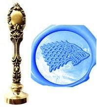 Vintage Wolf Direwolf Custom Picture Logo Luxury Wax Seal Sealing Stamp Brass Peacock Metal Handle Gift