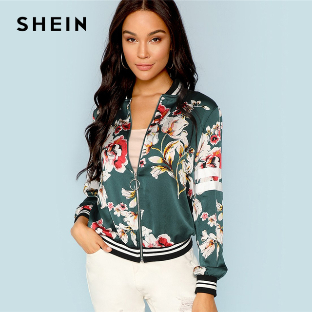 c2c02317 SHEIN Green Multicolor Zip Up Floral Print Striped Jacket Casual Streetwear  Stand Collar Bomber Jackets Women