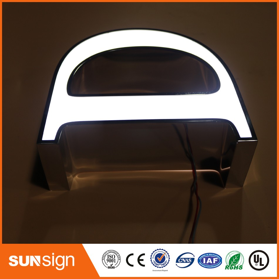 Custom Acrylic Surface Stainless Steel Led Lighted Letters Sign Making