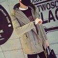 Mejores Ventas de 2016 Nuevo de la Llegada del Invierno Los Hombres Chaqueta Larga prendas de Vestir Exteriores Ocasional Sólido de Algodón Acolchado Capa de Los Hombres Más El Tamaño