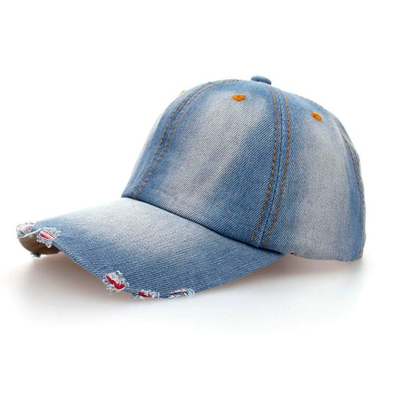 Feitong 2017 Fashion Caps Women Men Adult Denim Baseball Caps Fashion  Snapback Solid Jeans Ripped Cap Hats for Women Bones 24d31ad7b7d