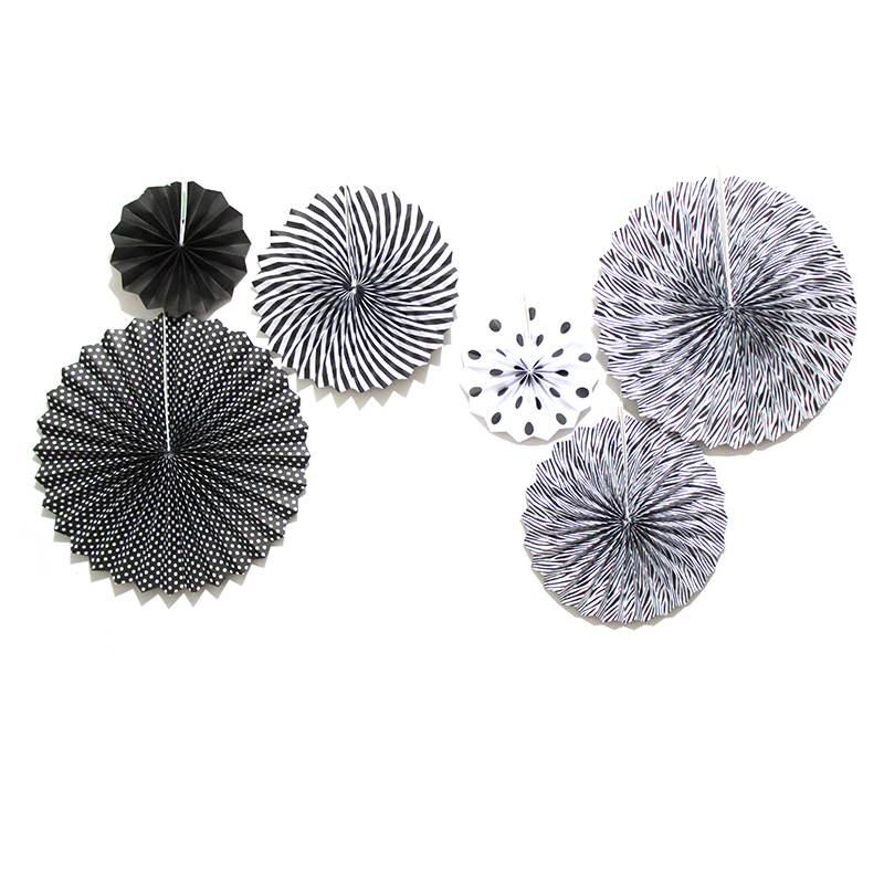 6Pcs/Set Black Paper Fan Flowers Backdrop Decoration,Wedding Tissue Paper Fan Flowers,Birthday Party Holiday Decoration Supplies
