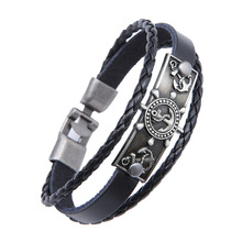 Party Favor Anchor Navy Hand-knitted Leather Bracelet Retro Pop Mens Alloy Brace