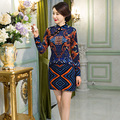 Free Shipping Blend Wool Chinese Women's Dress Vintage Qipao Long Sleeve Cheongsam Dress National Trend Dress 3 Color