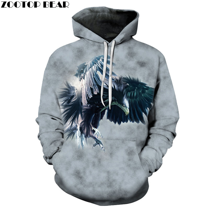 Eagle Sweatshirts Men Hoodies Fashion Tracksuits 3D Printing Pullover Anime Hoody Streetwear Coat Harajuku Drop Ship ZOOTOP BEAR
