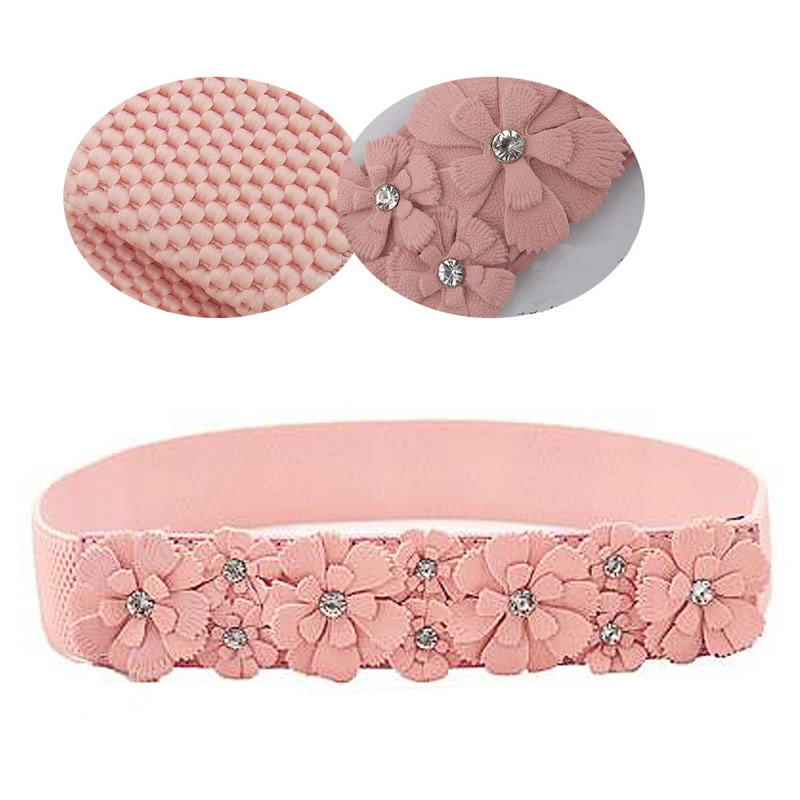 Rose Flower Synthetic Leather Elastic Stretch Dress Narrow Waist Belt Band Women