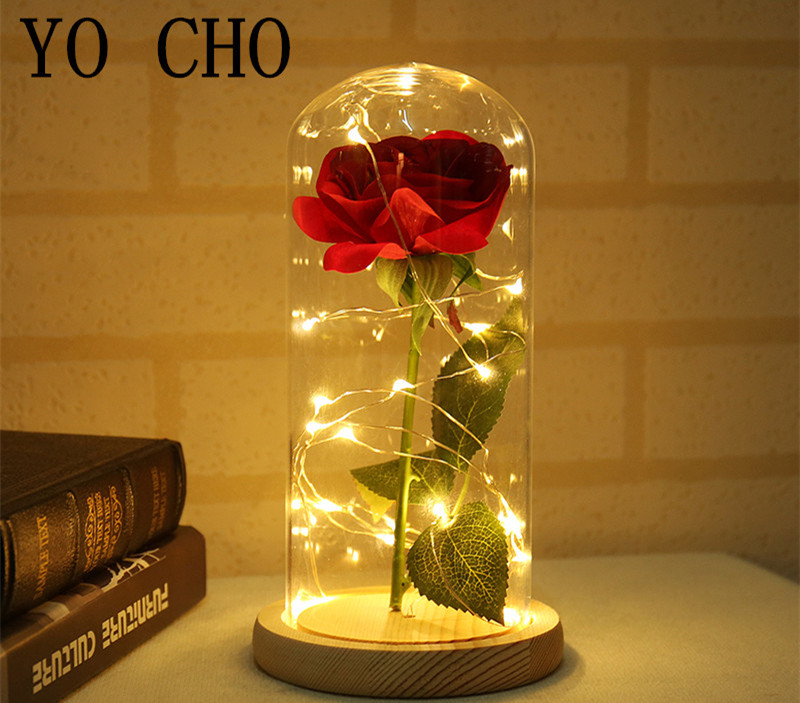 YO CHO 11.11.sales artificial flowers silk plastic rose branch in flask led rose bottle lamp valentines day gift fake flowers1_