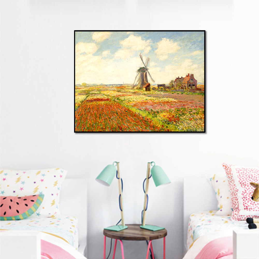 Unframed Canvas Prints Field Windmill Wall Art Canvas Painting Prints Wall Picture For Living Room Wall Art Decoration