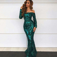 New Fashion Hot Selling Chic Off Shoulder Long Women Gold Green Sequins Sparkly Dress Celebrity Prom Wedding Gown Party Dress