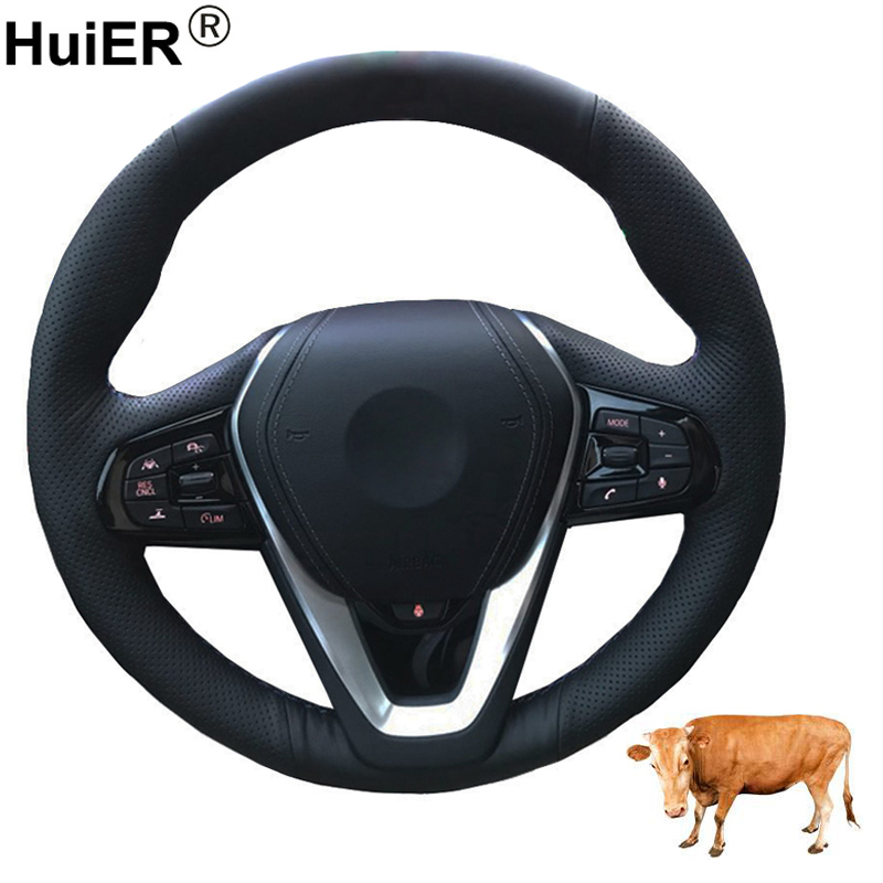 Hand Sewing Car Steering Wheel Cover Top Layer Cow Leather For <font><b>BMW</b></font> <font><b>G30</b></font> <font><b>530i</b></font> 540i 520d 530e 2016-2018 G32 GT 630i 630d 2017 2018 image