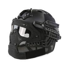 Al aire libre G4 Sistema Táctico Casco Fullface Con Protección Goggle PJ y Cara De Malla Máscara de Airsoft Cascos para Juego de Guerra Militar