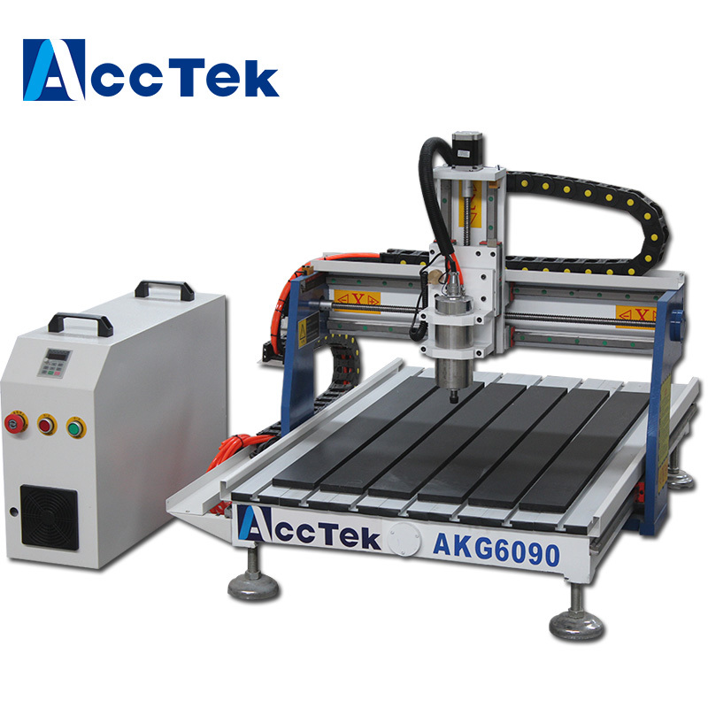 Acctek desktop <font><b>cnc</b></font> <font><b>6090</b></font> <font><b>4</b></font> <font><b>axis</b></font> /6012 for wood/acrylic/stone/aluminum/metal with rotary device water tank cooling image