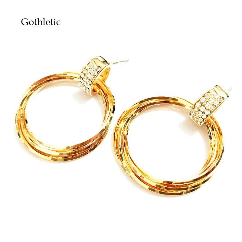 Earrings Hoop Earrings Special Section Gothletic Brand Gold Color Simple Hoop Earrings For Women 2019 Fashion Multi Circles Rhinestone Hoop Earrings Fashion Jewelry