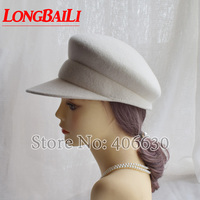 Winter Solid Color White Wool Felt Military Caps For Women Visors Beret Hats Free Shipping SWDW008