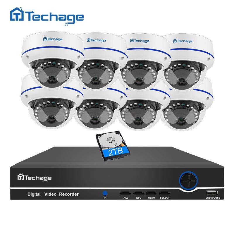 Techage 8CH 1080 P CCTV Системы безопасности POE NVR комплект 8 шт. Купол Крытый АНТИВАНДАЛЬ антивандальный IP Камера p2P Onvif наблюдения комплект