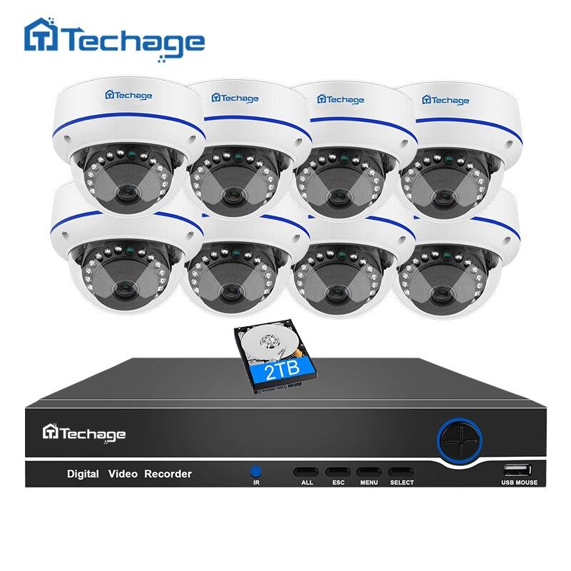 Techage 8CH 1080 P CCTV Système de Sécurité POE NVR Kit 8 PCS Dôme Anti-Vandalisme Intérieur Anti-vandalisme Caméra IP P2P Système de Surveillance