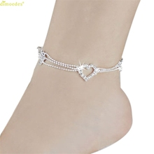 HOT Brand Women Three layers of love anklets Foot Tassel Jewelry Anklet Chain