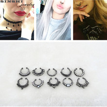 SINSHI 2017New Trendy Crystal Black Clicker Fake Septum Rings And Studs Wholesale Fake Nose Rings For Women Body Clip Jewelry