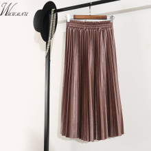 Womens slim high waist Elastic band pleated skirt new casual fashion party long skirt femal high elasticity pleated skirts