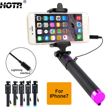 for iphone 7 Selfie Stick Lightning Wired Para Selfie Stick for iphone 5 6 7 plus Handheld Monopod Pau de Sefie Stick Extendable iphone