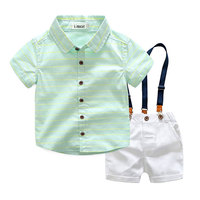 Summer Cotton Striped Clothing Set For Baby Boy Fashion Outerewear Sport Children's Clothes Suit Blouse+Bid Short Kids Boy Cloth