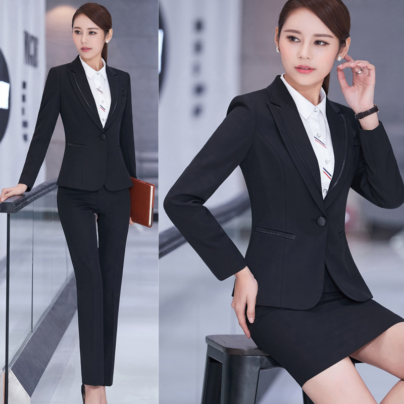 Spring and Autumn Female Business white collar black Self-cultivation Suit