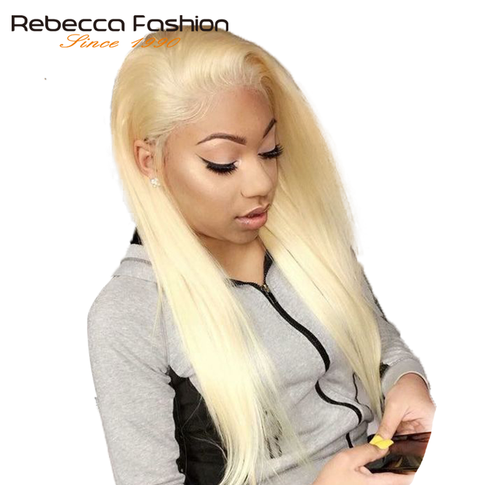 Rebecca 150% Density 613 Honey Blonde 13x6 Lace Front Wig Pre Plucked With Baby Hair Brazilian Remy Straight Human Hair Wigs image