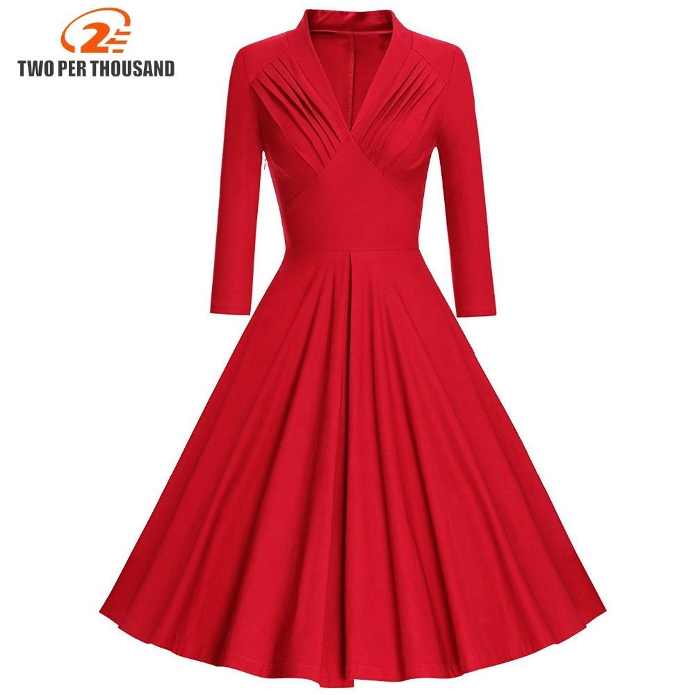 Womens Autumn Winter Long Sleeve Dresses 2017 Women Maggie Tang 50s 60s Robe Vintage Retro Pin Up Swing Polka Rockabilly Dress