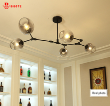 Modern LED Magic beans chandelier with bulbs in the Nordic idea branches pendent lamp glass ball droplight of post art