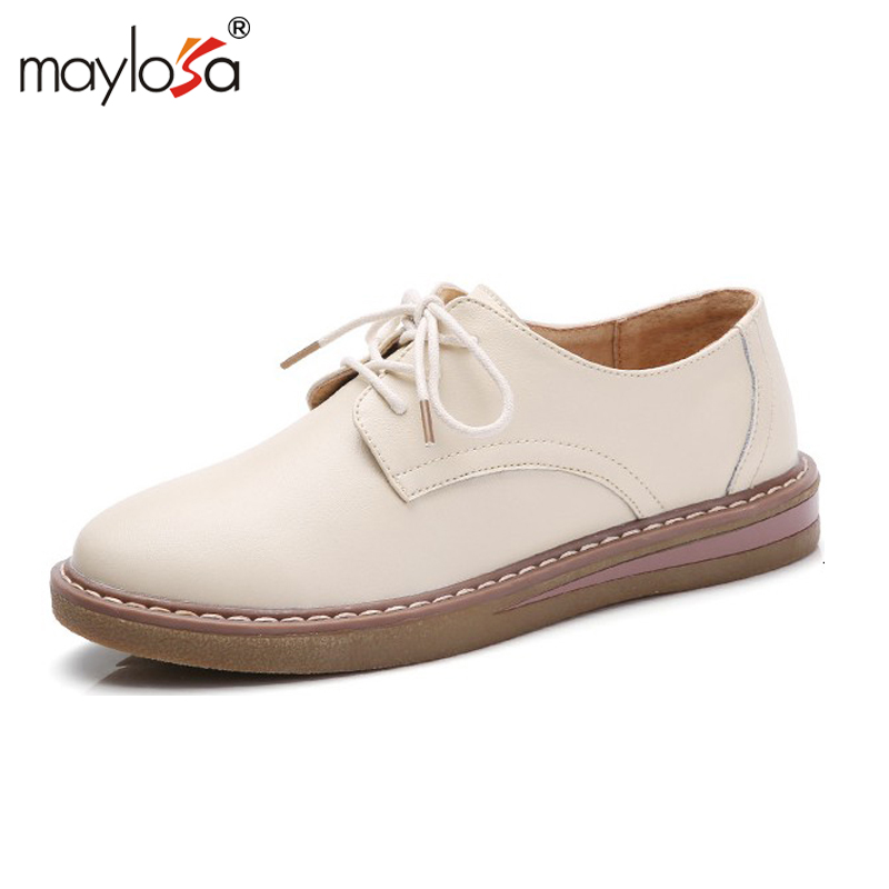 MAYLOSA Genuine Leather Flat Shoes Woman Loafers Cowhide Flexible Spring Casual Shoes Women Flats Women Classic Shoes original handmade autumn women genuine leather shoes cowhide loafers real skin shoes folk style ladies flat shoes for mom sapato