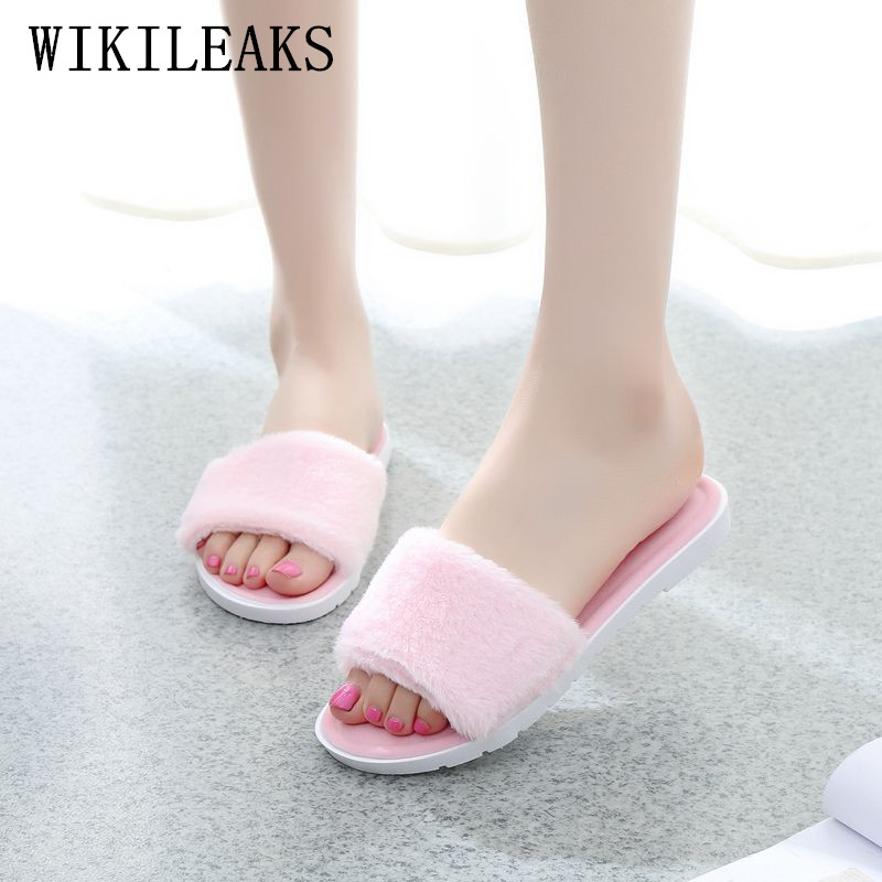 pink home slippers women shoes pantufa zapatos de mujer high quality fur slippers home shoes pokemon plush chaussures femmes flat fur women slippers 2017 fashion leisure open toe women indoor slippers fur high quality soft plush lady furry slippers
