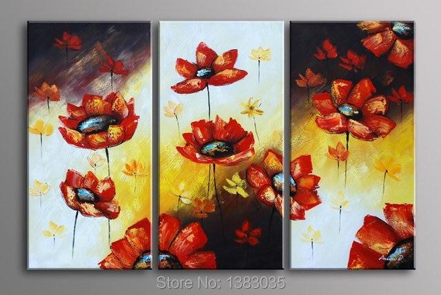 Handmade Poppy Flower Drawing 3 Piece Canvas Art Oil Paintings ...