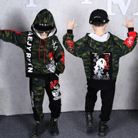 Sport Camouflage Suit Boys Clothing Set Boy Camouflage Hooded Pants Suit 2PCS Outwear 4 5 6 7 8 9 10 11 12 13 14 Year Tracksuit