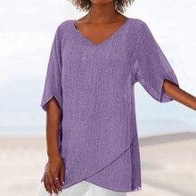 Мода блузка женщины плюс размер женские топы и кофточки Шеин кутюр роковой женщины топы 2019 лето нерегулярные твердые блузка Z4 в аренду
