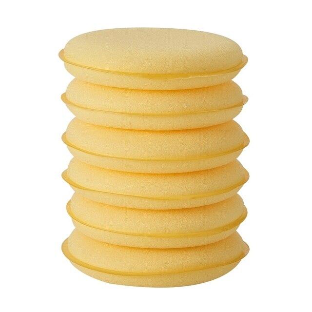 Esponja de coche de cera pulidora de cera esponja de mano de cera suave esponjas amarillas 6 piezas almohadilla de esponja/amortiguador para Auto accesorios de limpieza de lavado