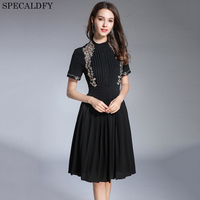 2018 High Quality Women Fashion Vintage Embroidery Dress Women Short Sleeve Black Shirt Dress Summer Pleated
