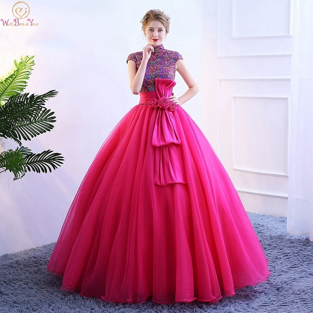 a529bbdd32 Fuchsia Quinceanera Dresses 2019 High Neck Appliques Flowers Beading  Sequined Pleat Lace Up Tulle Elegant Graduation