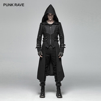 PUNK RAVE Men Gothic Black Hooded Jackets Coat Steampunk Rock Style Stage Performance Costumes Fashion Men Long Trench Coat