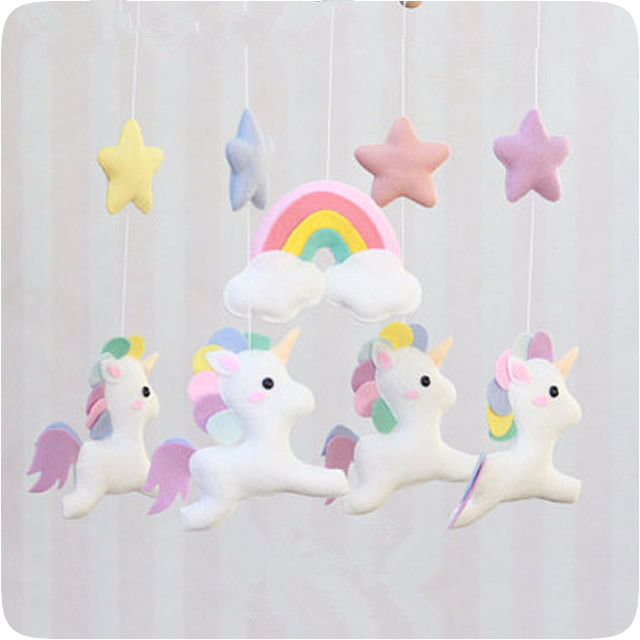 Handmade DIY Non-woven Star Moon Musical Crib Bed Bell Baby Rattle Rotating Plush Toys For Newborn Kids Educational Toy Craft