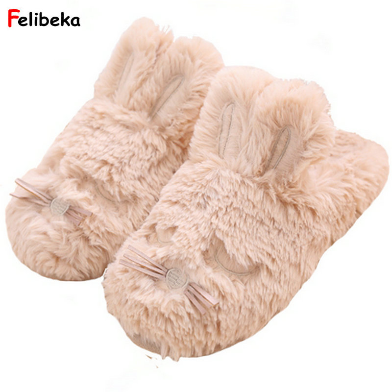 Cartoon winter/Autumn sweet slippers warm plush slippers at home indoor bedroom slipper rabbit women shoes fralosha new winter plush slippers women home slippers fashion plush warm indoor slippers for home shoes hot sale