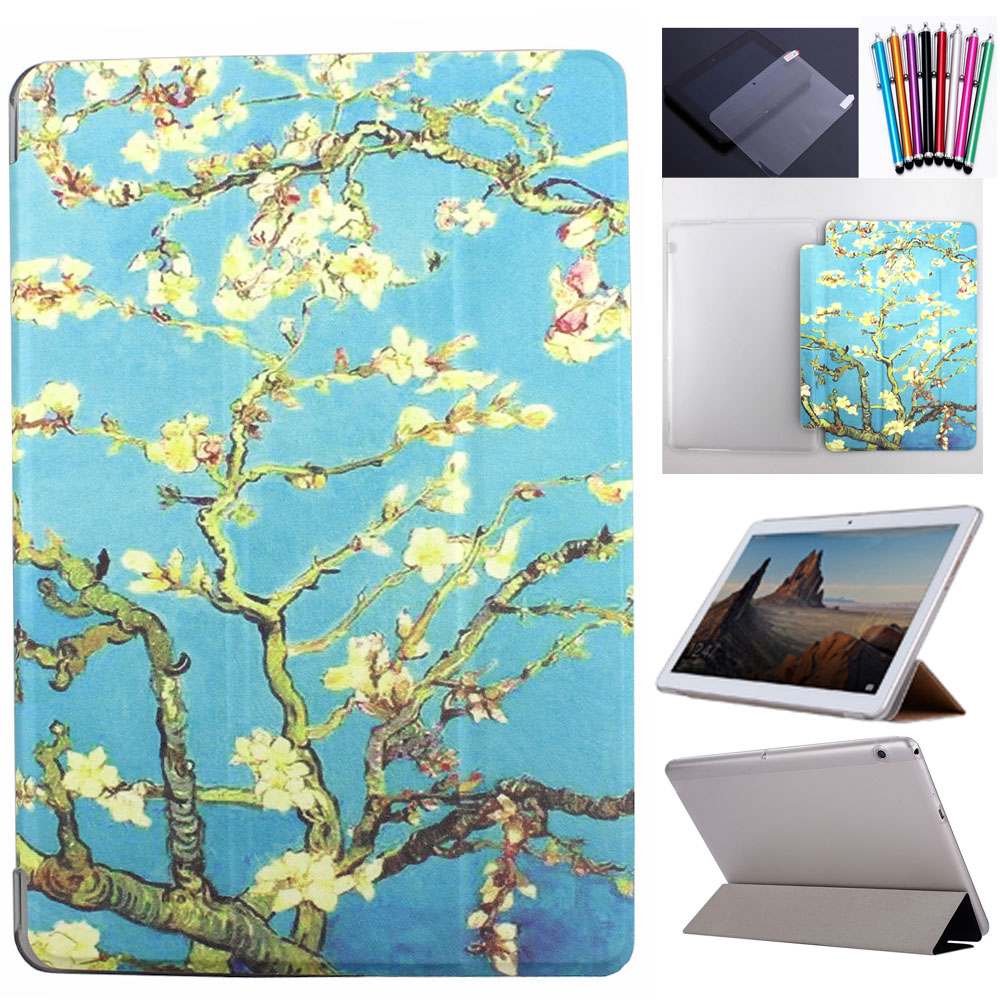 Tablet Print Case Transparent Cover For Huawei Mediapad T5 10 10.1 Inch Case Protective Shell Skin+Screen Protector+Stylus