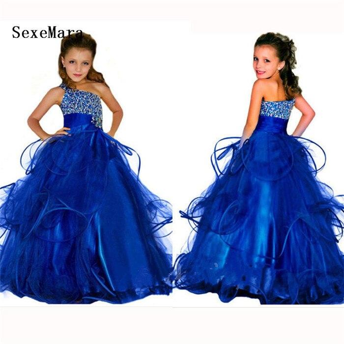 цена на Elegant Royal Blue Floor Length Flower Girl Dress Beading Crystals Puffy Wedding Birthday Pageant Gown Girls Birthday Dress